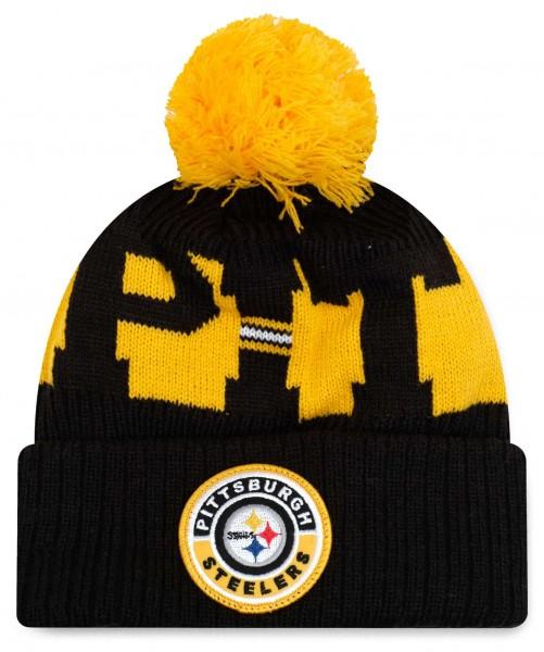 New Era - NFL Pittsburgh Steelers On Field 2020 Sport Knit Bobble Beanie - Schwarz Vorderansicht
