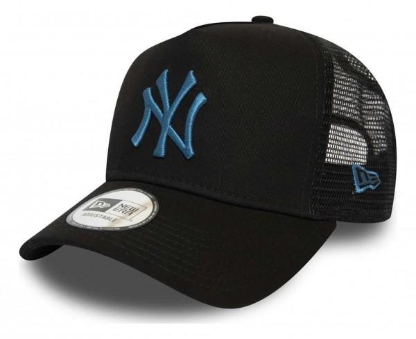 New Era - MLB New York Yankees League Essential Trucker A-Frame Snapback Cap - Schwarz Ansicht vorne schräg rechts