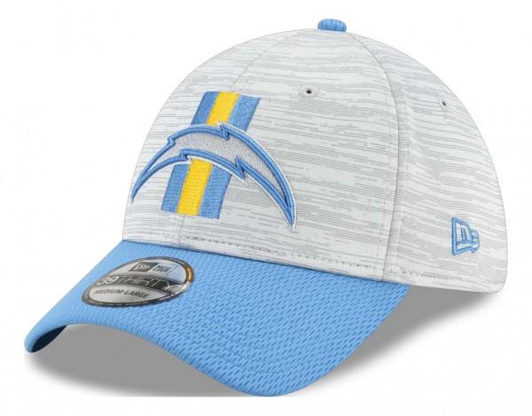 New Era - NFL Los Angeles Chargers 20212 Training 39Thirty Stretch Cap - Grau-Blau Ansicht vorne schräg links