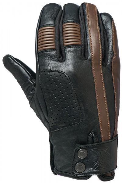 West Coast Choppers - WCC Grunge Leather Riding Gloves Leder Handschuhe - schwarz braun