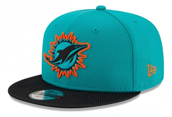 New Era - NFL Miami Dolphins 2021 Sideline Road 9Fifty Snapback Cap - Türkis Ansicht vorne schräg links