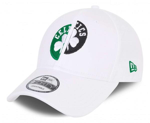 New Era - NBA Boston Celtics Half Half 9Forty Strapback Cap - Weiss Ansicht vorne schräg links