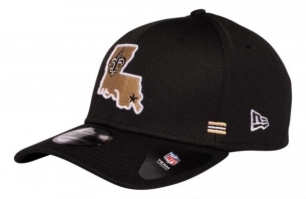 New Era - NFL New Orleans Saints OnField 2020 Sideline Home 39Thirty Stretch Cap - Schwarz Ansicht vorne schräg links