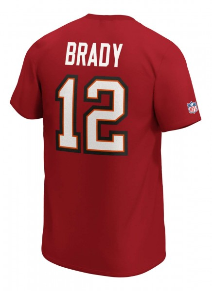 Fanatics - NFL Tampa Bay Buccaneers Iconic Name & Number Graphic Tom Brady T-Shirt - Rot Rückansicht