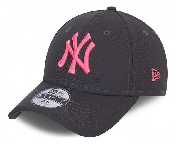 New Era - MLB New York Yankees Neon Pack 9Forty Kids Strapback Cap - Grau Ansicht vorne schräg links