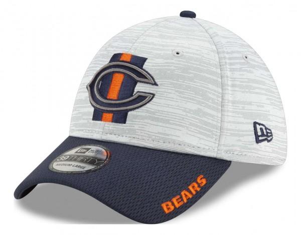 New Era - NFL Chicago Bears 20212 Training 39Thirty Stretch Cap - Grau-Blau Ansicht vorne schräg links