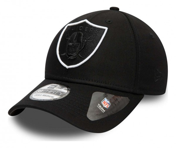 New Era - NFL Las Vegas Raiders Tonal 39Thirty Stretch Cap - Schwarz Ansicht vorne schräg links