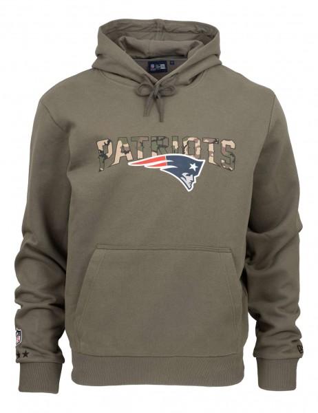 New Era - NFL New England Patriots Camo Wordmark PO Hoodie - Olivgrün Vorderansicht