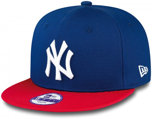 New Era - MLB New York Yankees Cotton Block 9Fifty Kids Snapback Cap - Blau-Rot Frontansicht