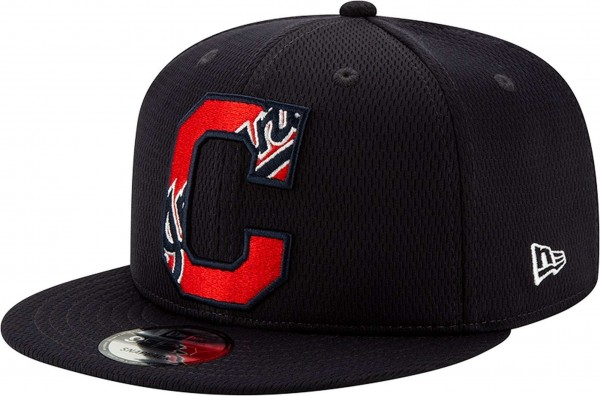 New Era - MLB Cleveland Indians 2020 Batting Practice Snapback Cap - Schwarz Ansicht vorne links