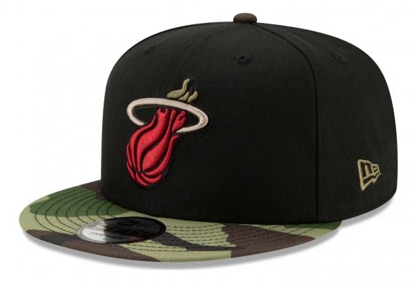 New Era - NBA Miami Heat ASG Camo 9Fifty Snapback Cap - Schwarz Ansicht vorne schräg rechts