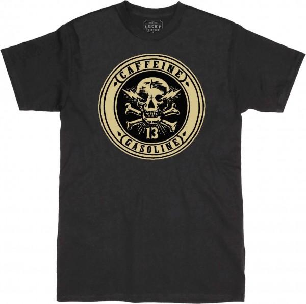 Lucky 13 - Caffeine & Gasoline T-Shirt - Schwarz Vorderansicht