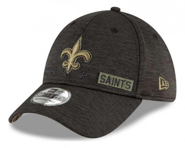 New Era - NFL New Orleans Saints 2020 Salute to Service 39Thirty Stretch Cap - Schwarz Ansicht vorne schräg rechts
