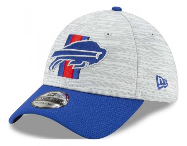 New Era - NFL Buffalo Bills 20212 Training 39Thirty Stretch Cap - Grau-Blau Ansicht vorne schräg links