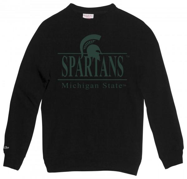 Mitchell & Ness - NCAA Michigan State Spartans Academic Sweatshirt - Schwarz Vorderansicht