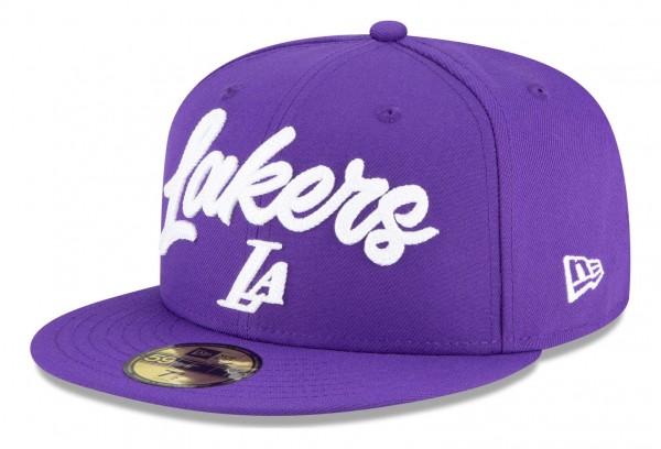 New Era - NBA Los Angeles Lakers 2020 Draft Edition Alternative 59Fifty Fitted Cap - Violett Ansicht vorne schräg links