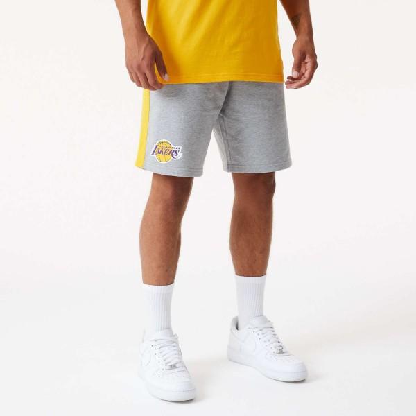 New Era - NBA Los Angeles Lakers Side Panel Shorts - Grau Vorderansicht