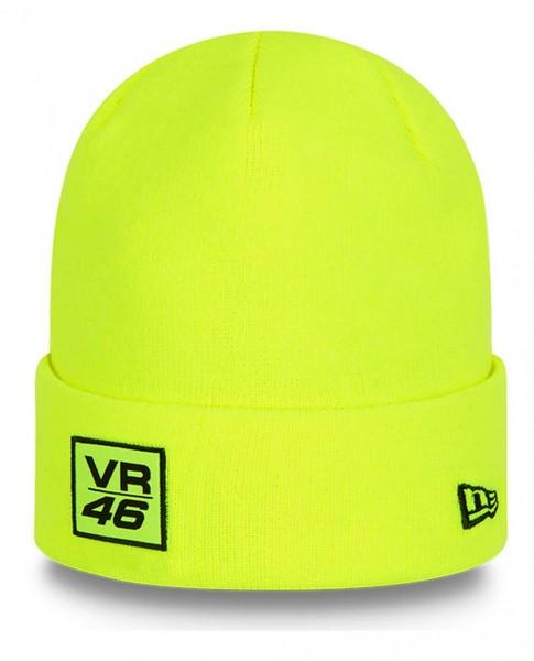New Era - VR46 Woven Patch Knit Beanie - Gelb Ansicht vorne schräg links