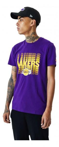 New Era - NBA Los Angeles Lakers Logo Fade T-Shirt - Lila Vorderansicht