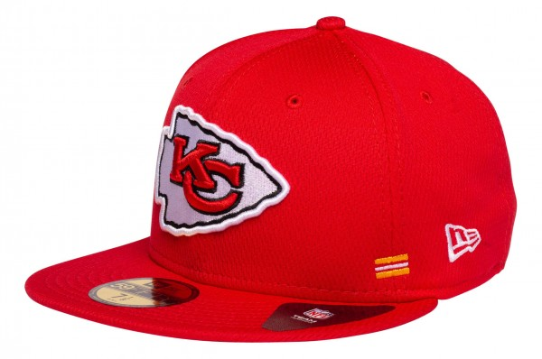 New Era - NFL Kansas City Chiefs OnField 2020 Sideline Home 59Fifty Fitted Cap - Rot Ansicht vorne schräg links