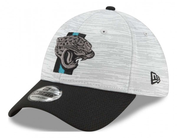 New Era - NFL Jacksonville Jaguars 20212 Training 39Thirty Stretch Cap - Grau-Schwarz Ansicht vorne schräg links