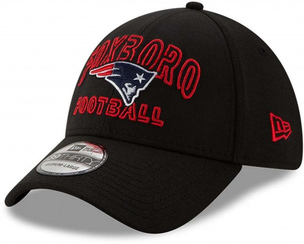 New Era - NFL New England Patriots 2020 Draft Alternative 39Thirty Stretch Cap - Schwarz Ansicht vorne schräg links