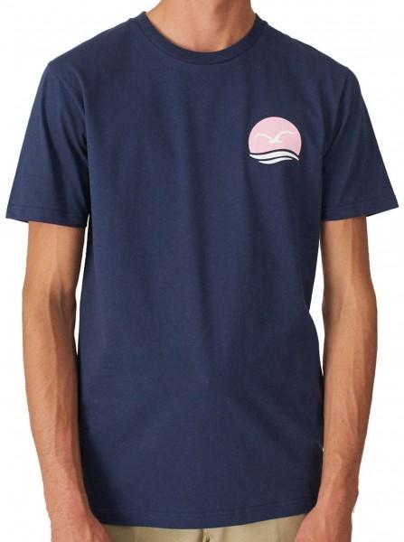 Cleptomanicx - Mocean Basic T-Shirt - Dunkelblau Vorderransicht