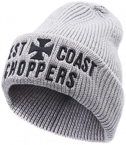 West Coast Choppers - WCC Cross Rib Beanie - Grau Ansicht schräg von vorne