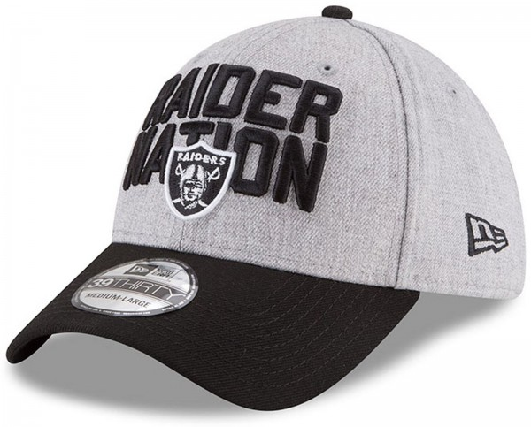 New Era - NFL Oakland Raiders Draft 2018 On Stage 39Thirty Cap - Grau-Schwarz