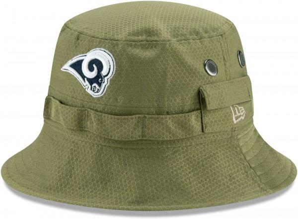 Aussenansicht eines grünen Hutes mit dem gesticktem Teamlogo