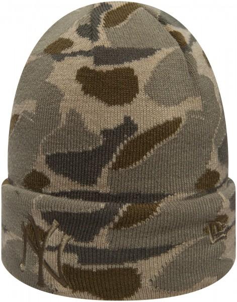 New Era - MLB New York Yankees Camo Knit Cuff Beanie - Camouflage Ansicht schräg vorne