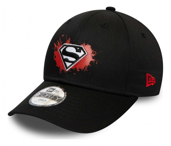 New Era - DC Comics Superman Paint Base 9Forty Kids Strapback Cap - Orange Ansicht vorne schräg links