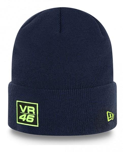 New Era - VR46 Woven Patch Knit Beanie - Blau Ansicht vorne schräg links