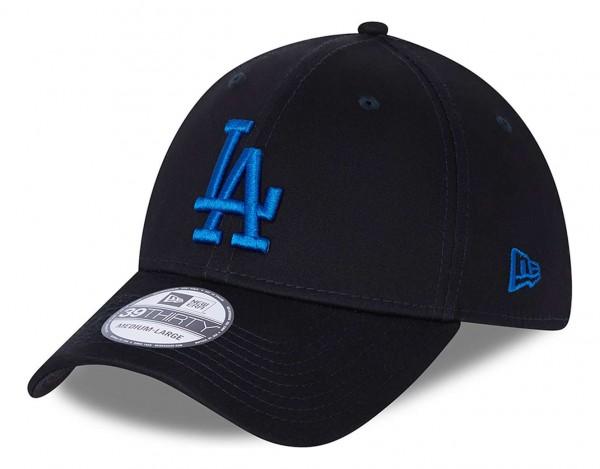 New Era - MLB Los Angeles Dodgers League Essential 39Thirty Stretch Cap - Blau Ansicht vorne schräg links