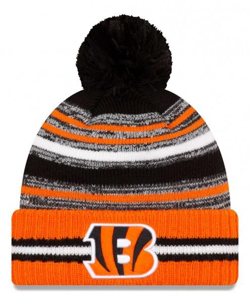 New Era - NFL Cincinnati Bengals 2021 Sport Knit Bobble Beanie - Mehrfarbig Vorderansicht