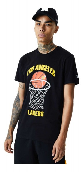 New Era - NBA Los Angeles Lakers Basketball T-Shirt - Schwarz Vorderansicht