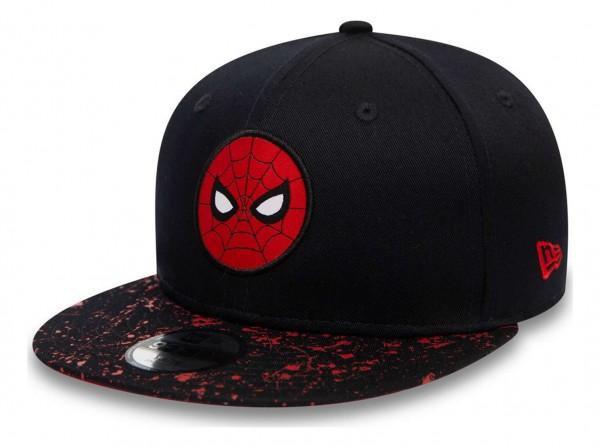 New Era - Marvel Comics Spiderman Paint Splat Visor 9Fifty Kids Snapback Cap - Blau Ansicht vorne schräg links