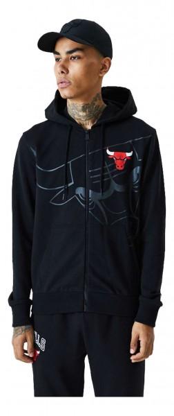 New Era - NBA Chicago Bulls Big Logo Zip Hoodie - Schwarz Vorderansicht