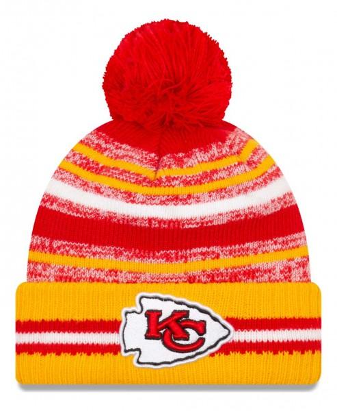 New Era - NFL Kansas City Chiefs 2021 Sport Knit Bobble Beanie - Mehrfarbig Vorderansicht
