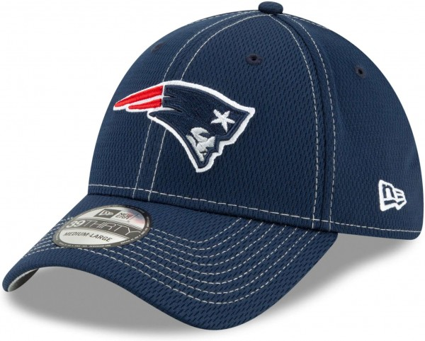 New Era - NFL New England Patriots On Field 2019 Sideline Road 39Thirty Stretch Cap - Blau Ansicht schräg links