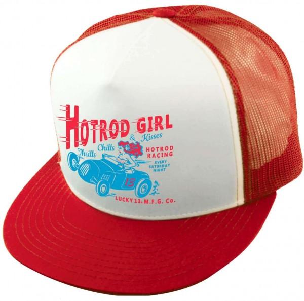 Lucky 13 - Hot Rod Trucker Snapback Cap - Rot Ansicht schräg vorne
