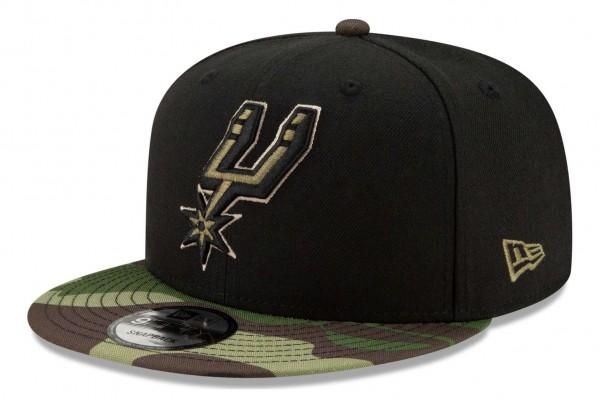 New Era - NBA San Antonio Spurs ASG Camo 9Fifty Snapback Cap - Schwarz Ansicht vorne schräg rechts