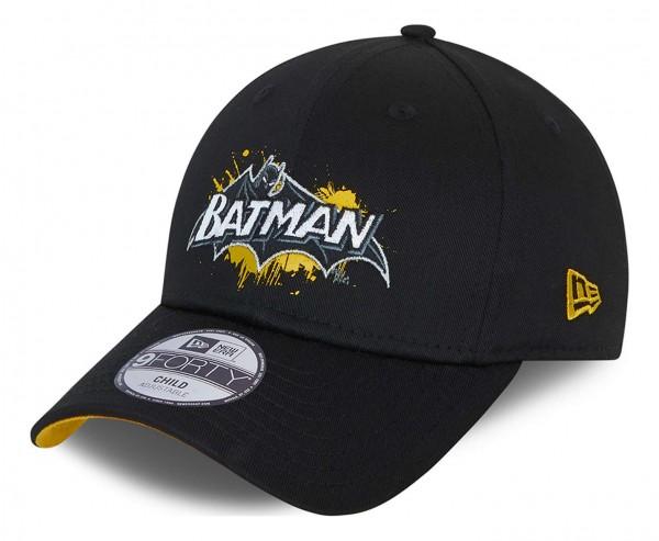 New Era - DC Comics Batman Character Splat 9Forty Kids Strapback Cap - Schwarz Ansicht vorne schräg links