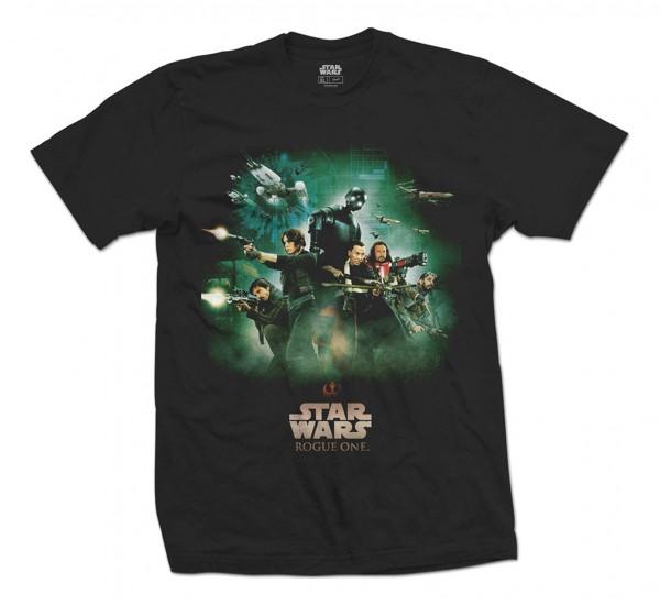 Bravado - Star Wars Rogue One Rebels Poster T-Shirt - Schwarz Vorderansicht