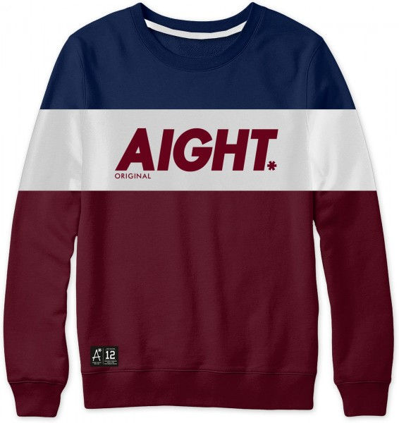 Aight* - 3 Tone Sweatshirt - Navy White Maroon Ansicht Vorderseite