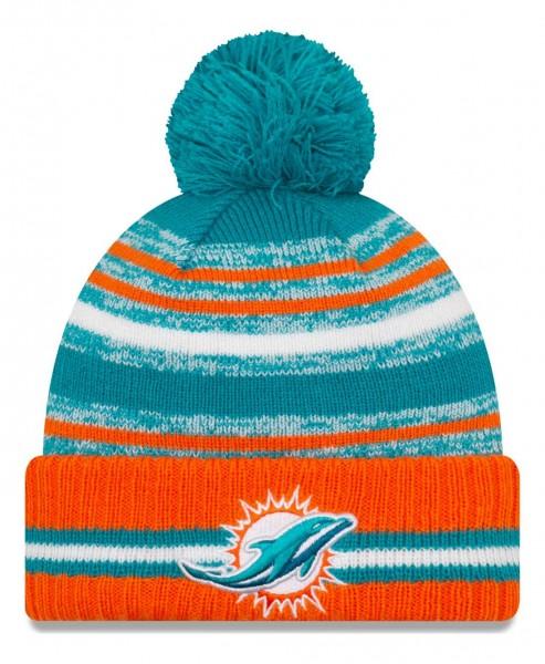 New Era - NFL Miami Dolphins 2021 Sport Knit Bobble Beanie - Mehrfarbig Vorderansicht