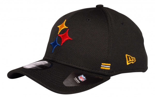 New Era - NFL Pittsburgh Steelers OnField 2020 Sideline Home 39Thirty Stretch Cap - Schwarz Ansicht vorne schräg links