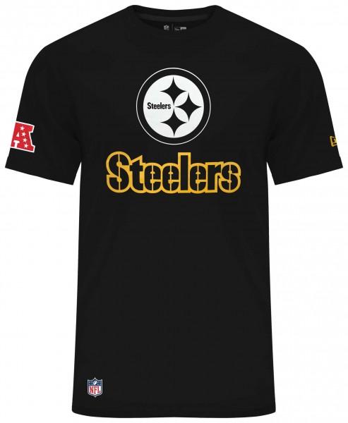 New Era - NFL Pittsburgh Steelers Fan Logo T-Shirt - Schwarz Vorderansicht