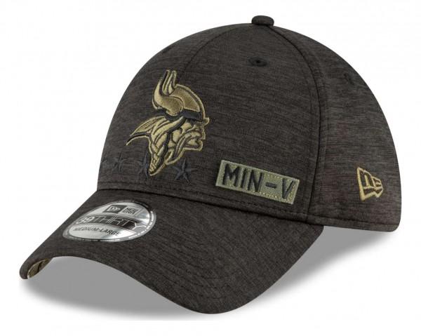 New Era - NFL Minnesota Vikings 2020 Salute to Service 39Thirty Stretch Cap - Schwarz Ansicht vorne schräg rechts