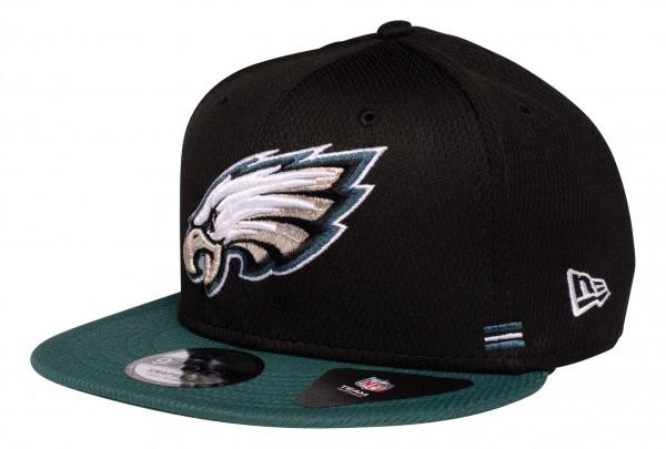 New Era - NFL Philadelphia Eagles OnField 2020 Sideline Home 9Fifty Snapback Cap - Schwarz Ansicht vorne schräg links